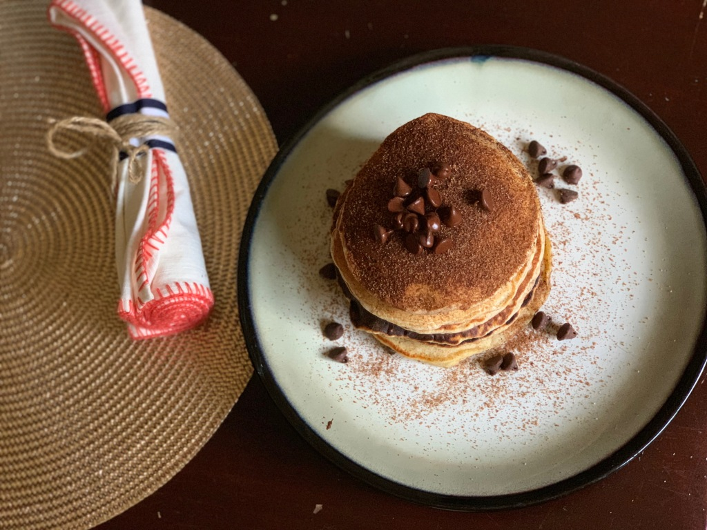 Snickerdoodle Chocolate Chip Pancake Stack