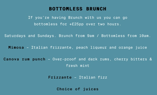 Bottomless brunch menu Canova hall featuring mimosa, Canova rum punch,  and frizzante