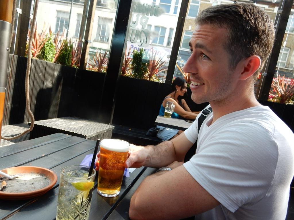 Daniel Kelley enjoying a beer on the terrace at PubLove