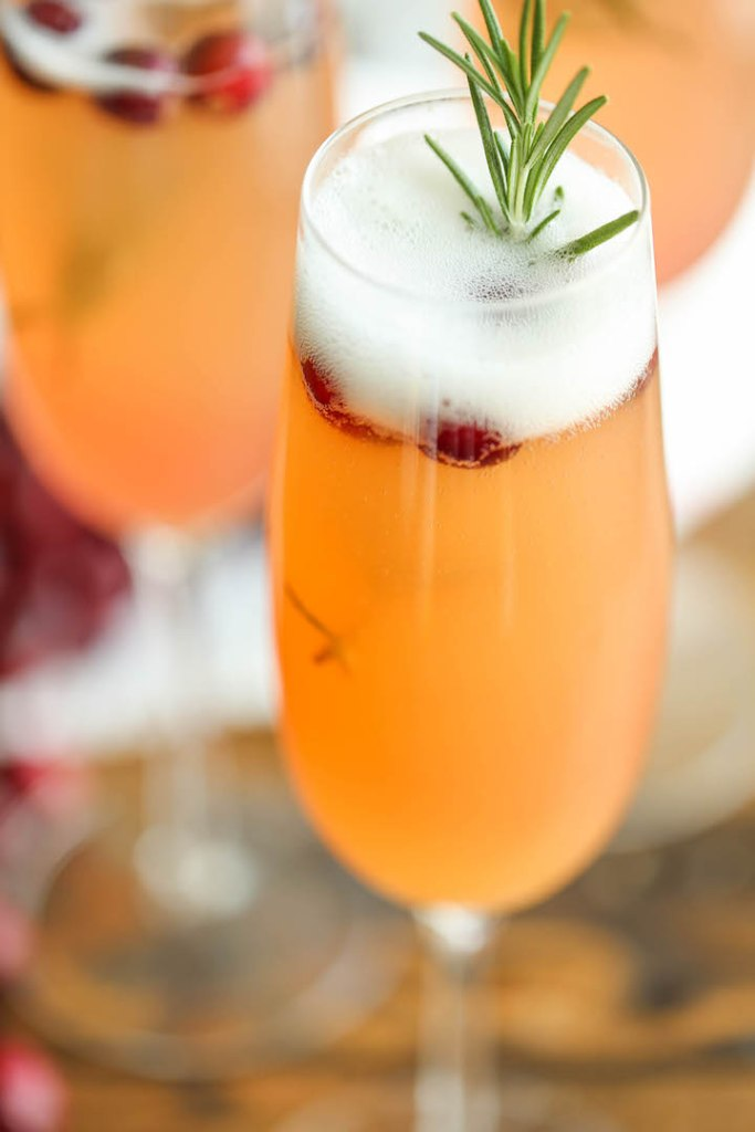Cranberry mimosa with Orange Juice and Pineapple Juice